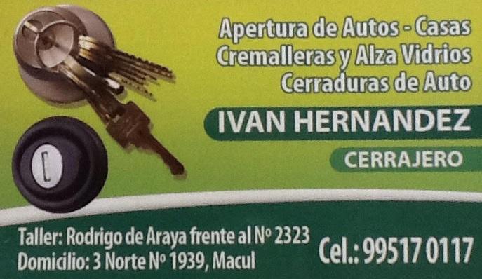 IVAN HERNANDEZ CERRAJERO ALZAVIDRIO CREMALLERA Automotriz Macul